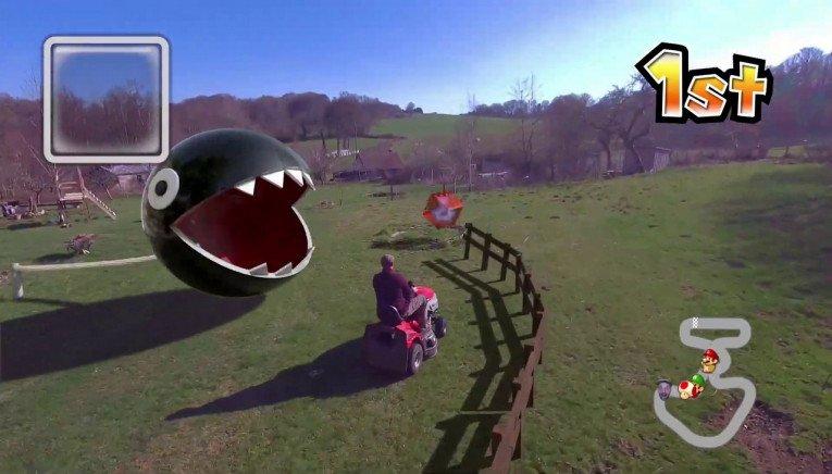 Πως θα ήταν μια πραγματική πίστα Mario Kart με όχημα μια μηχανή του γκαζόν; (video)